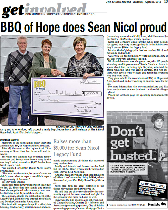 2013 Shaw BBQ for Hope Article - Selkirk Record April 25, 2013
