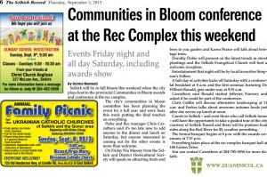 2013 Manitoba Communities in Bloom Conference - Selkirk Record Article