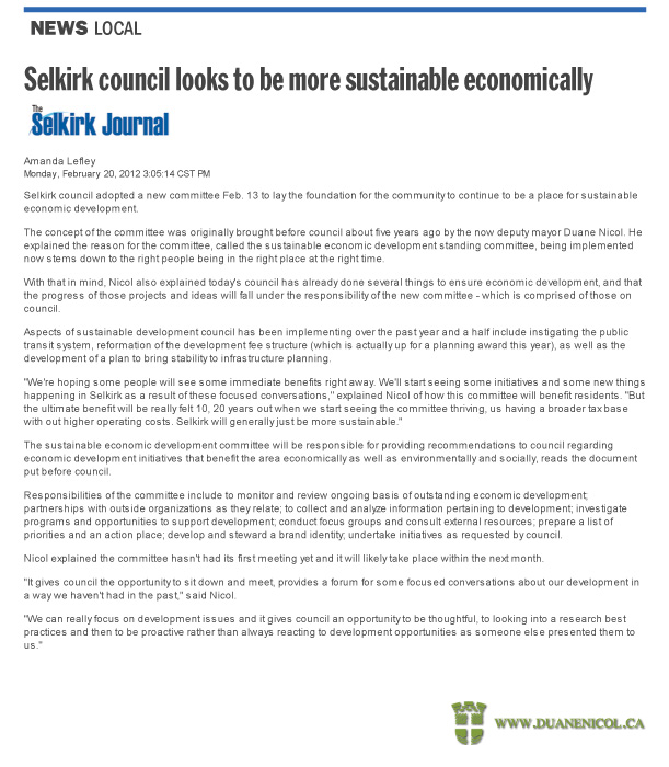 Selkirk Council Adopts Nicol's Sustainable Economic Development Committee