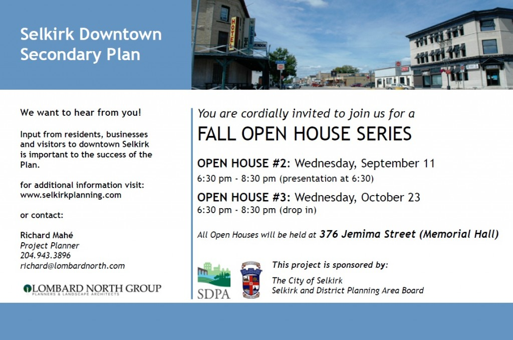 Selkirk Downtown Secondary Plan Open House Invitation