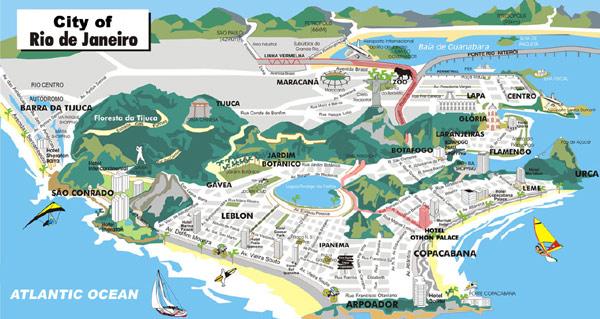 Tijuca Forest in Rio de Janeiro Map