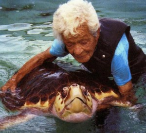 Ila Fox Loetscher with Sea Turtle